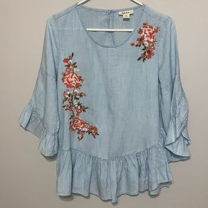 NWOT Style & Co Embroidered Chambray Top PETITE